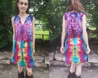 Small Sleeveless Dress Upcycled Knee Length Psychedelic Pink Purple Bright Rainbow Tie Dye Flowy Summer Festival Dance Festival Dress