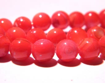 60 shell-clam-6 mm shell pearl beads - bright coral - PG36