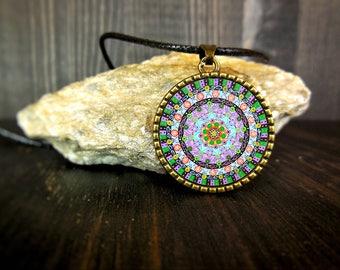 Energia di guarigione mandala foto stampata su pendente per collana in stile new age buddista, collana per meditazione, idea regalo per zia.