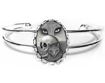 Witch's Black Cat Bracelet Vampire Skull Gothic Cat Art Silver Cat Cameo Bracelet 25x18mm Gift for Cat Lovers Jewelry