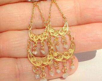 Solid,14K Gold Chandelier,Diamond Earrings, Yellow Gold, Gold Filigree, French Hook. Dangle Earrings, Vintage Treasure, Hallmarked