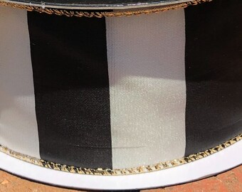 Black ivory gold edged wired ribbon 3 yards