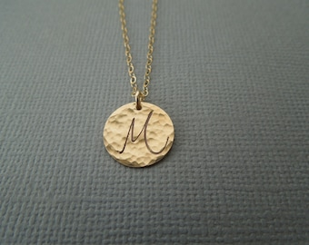initial necklace, gold initial pendant, hammered disc, delicate gold initial, dainty gold, personalized, script font, one two three, N169