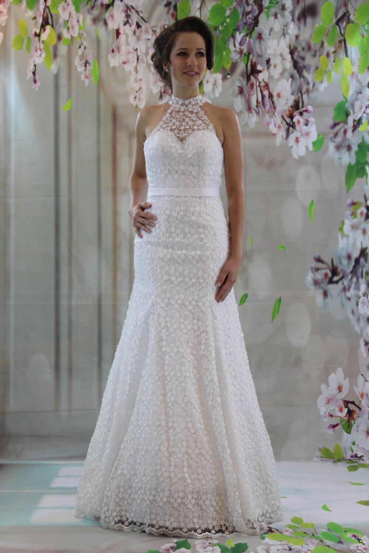 Brautkleid elegant Schatz hoch Hals geändert volle Spitze