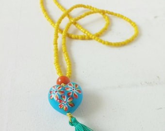 Bohemian necklace with handpainted glass heart...