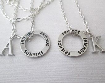 Best Friend Necklace, 2 Friends Initial Necklaces/ Friendship, friendship gift, friend necklace, friend, friend jewelry, friend gift