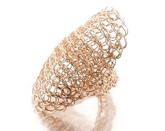 Statement ring, wire crochet ring, Cleopatra  ring, rose gold ring, Large ring, cocktail ring, unique crochet jewelry, Valentines gift