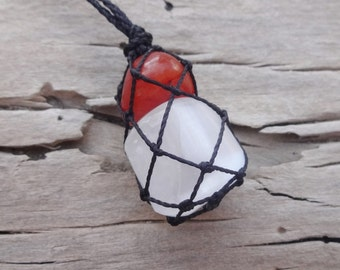 Macrame with minerals White Selenite Red Carnelian /red white healing stones pendant energy balancing stones Mothers Day gift necklace