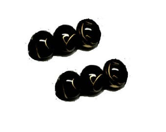 set of 50 6 mm Golden marbled black glass beads