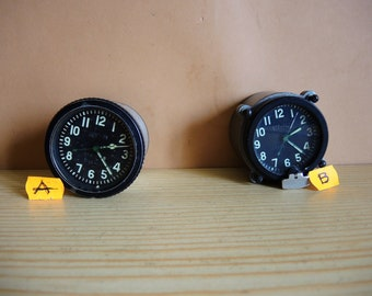 ONE!!! Soviet Vintage USSR era mechanical Military vehicle clock / Aircraft and tank Military Clock Panel / collectible Clock / Tank Clock