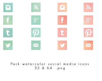INSTANT DOWNLOAD - Watercolor social media blue and pink - 32 & 64 / png