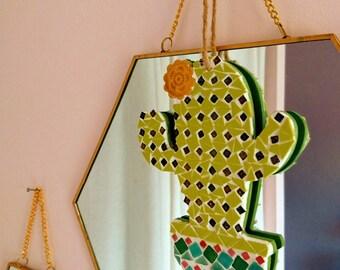 Cactus hanging, mosaic cactus, cactus decor