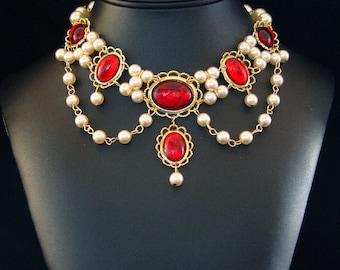 Medieval Necklace, Renaissance Necklace, Tudor Necklace, Medieval Jewelry, Renaissance Jewelry,  Lady Emma  U Pick Colors