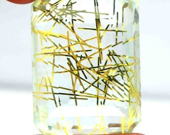 Emerald Shape 115.05 Ct Certified Brazilian Yellow Rutilated Quartz Gemstone AO2298