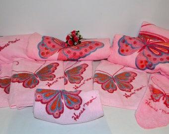Vintage Pink Bath Towel Set Hanae Mori.....Twelve pieces