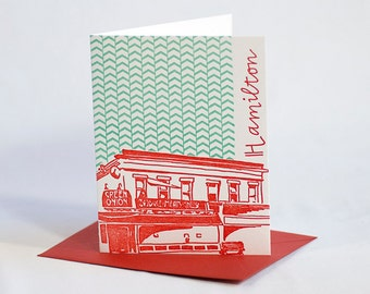 Baltimore Letterpress Card | Green Onion | red & aqua single blank card with envelope