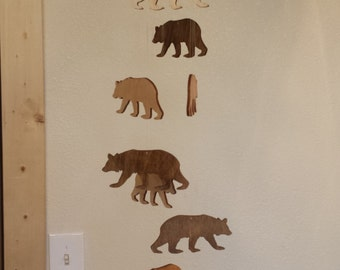 Wooden Bear Mobile Rustic