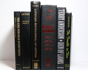 Black Books, Bundle of 6 Vintage Hardcover Books, Lifetime Encyclopedia of Letters, Robert Barnard Mysteries, Interior Design Floating Books