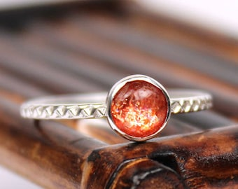 Sunstone Cabochon Ring with Patterned Band, Sunstone Ring, Handmade Ring, Sterling Silver Ring