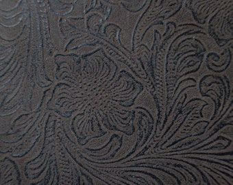 Brown embossed leather like and brown knit Fabric