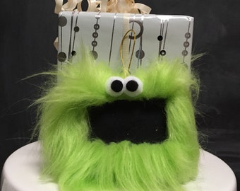 Gift Tag Furry Monster Chalkboard Ornament, reusable place card, teacher gift, lime green