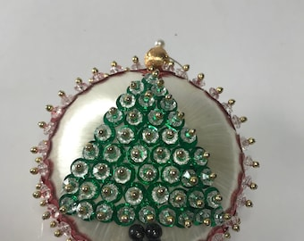 Vintage Gold Gimp Beaded Pearl Sequined White Satin Christmas Ornament