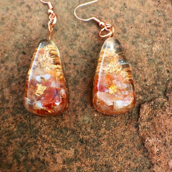Atlantean Gold Orgonite® Earrings- Temple Gold Sacred Goddess Orgone Earrings- Empath Protection and Negative Energy Shield Orgonite® Charms
