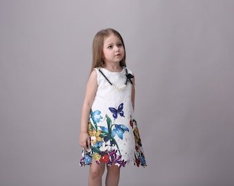 Smiley Oli - Cute Little Girl's Embroidery White Party Pearl Tunic Colorful Floral Dress (Ages 6 - 8)