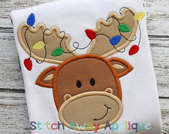 Moose with Christmas Lights Machine Applique Design