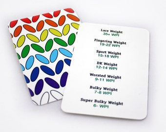 WPI Gauge Card, Rainbow Knit Stitch Gloss Business Card, Spinners Friend