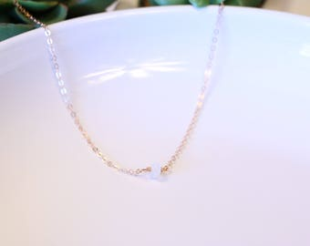 Moonstone Choker - Gemstone Necklace - Tumbled Moonstone Necklace - Sterling Silver - Rose Gold - Yellow Gold - White Gemstones