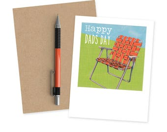 Father's Day Card - Happy Dad's Day - Card for Grandpa - Card for Stepdad - Card for Dad - Card for Husband - Retro Lawn Chair - Grandfather
