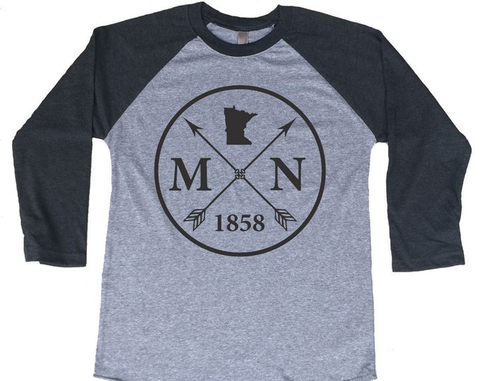 Featured listing image: Homeland Tees Minnesota Arrow Tri-Blend Raglan Baseball Shirt