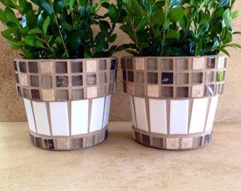 Mosaic flower pot set, small rustic indoor planters, succulent pots, outdoor planter, kitchen plant storage, handmade containers, patio pots