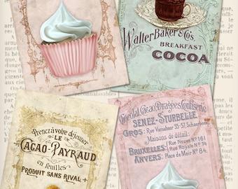 Vintage Patisserie Cards 6 x 4 inch printable images instant download digital collage sheet VDCAVI0961