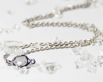 Clear Stone and Silver Stacking Necklace - BridesMaid Gift - Gemstone Necklace