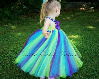 Peacock Inspired Tutu Dress Lime GreenTop NB-4t