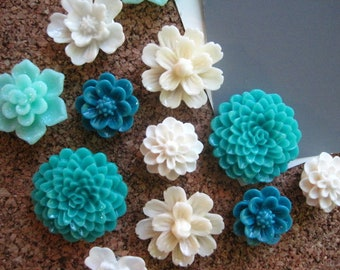 Flower Thumbtack Set, 12 pc Pushpin Set in Teal, White and Cream, Bulletin Board Tacks, Wedding Decor, Gifts, Art Boards, Office Supply