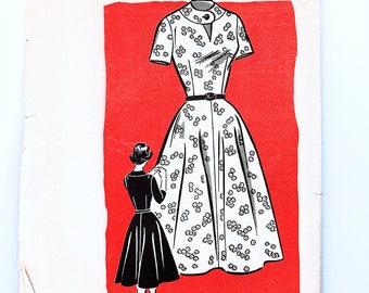 1960s Sewing Pattern Dress Bust 38 Womens Key Hole Dress Fit and Flare Skirt Day or Evening Dress Pattern UNCUT
