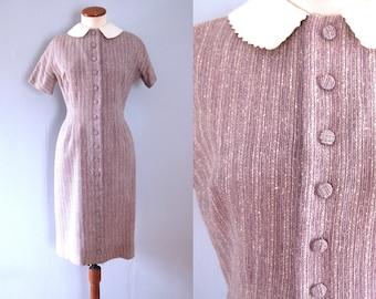 Lanz wiggle dress - 50s 60s vintage mid century lavender purple sheath nubby vertical stripe button down white peter pan collar retro pinup