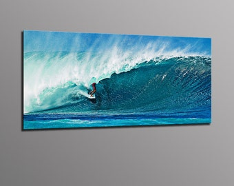 Surfing Photography Blue Wave Surfer Photo on Aluminum Metal Print Beach Surf Art