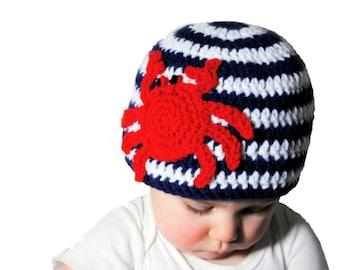 Crab Crochet Baby Hat, Nautical Baby Hat, Crab Hat, Baby Shower Gift, Boys Beach Hat, Newborn Photo Prop, Girl Stripe Beanie, Red White Blue