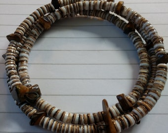 Shell Beads on a Memory Wire Wrap Bracelet