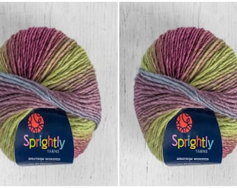 2 Skeins Sprightly Spectrum Worsted Yarn Color Plum Crazy