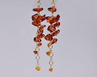 Baltic Amber Earrings, Cluster,Wire Wrapping , Gemstone Earrings