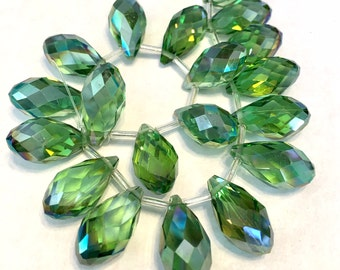 Kelly green Faceted Crystal drop briolettes top drilled 17mm