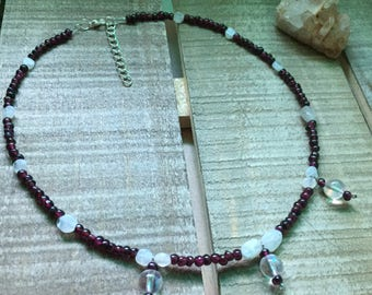 Beautiful Garnet, Moonstone and Aura quartz adjustable choker.