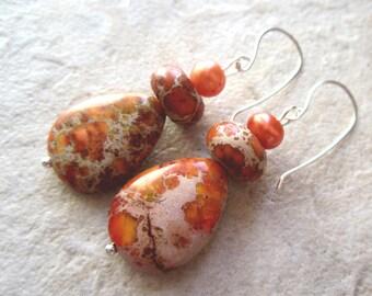 CIJ  Orange Jasper Earrings Teardrops Freshwater Pearls Silver Filled Wire Mothers Day Gifts Spring Sale