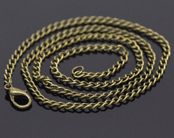 "1 pc. Antique Bronze Textured Chain Link Necklace 20"" - (3.5 x 2.6mm Links) - Lobster Clasp - Claw Clasps"