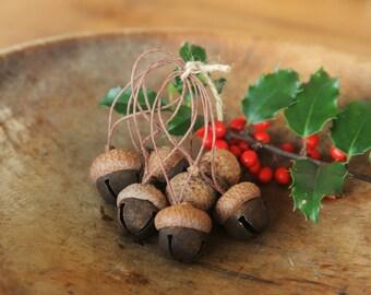 Acorn Ornaments made with Rusty Jingle Bells & Acorn Caps, Rustic, Woodland